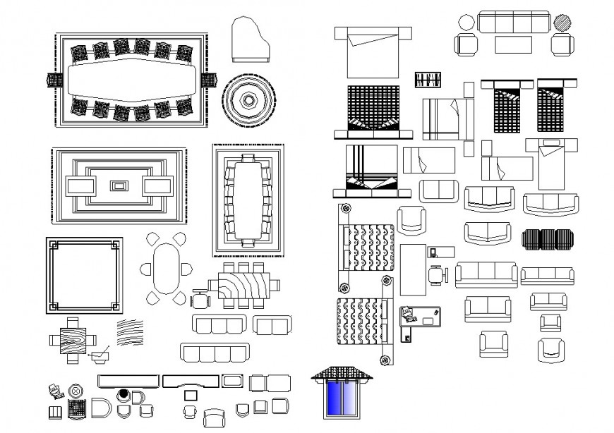 Dining table, bed and sofa different furniture block in auto cad file