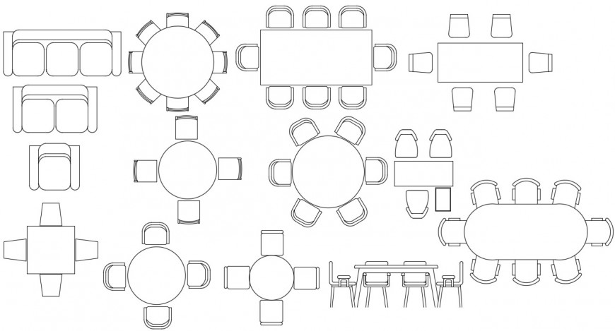 Dining tables 2d elevation concept file