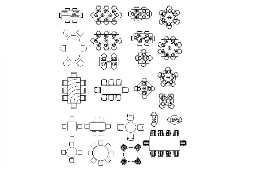 Dining tables and chairs top view plan dwg file