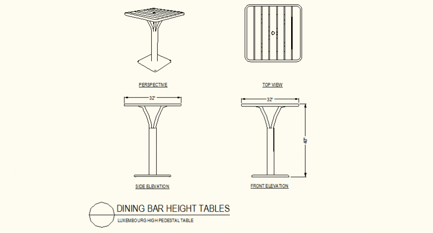 Dinning high height table detail plan and elevation dwg file