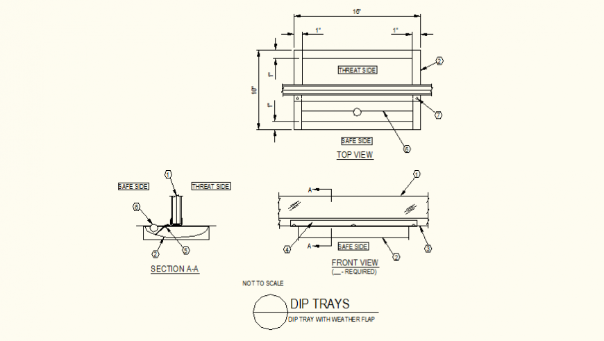 Dip tray with weather flap detail elevation autocad file