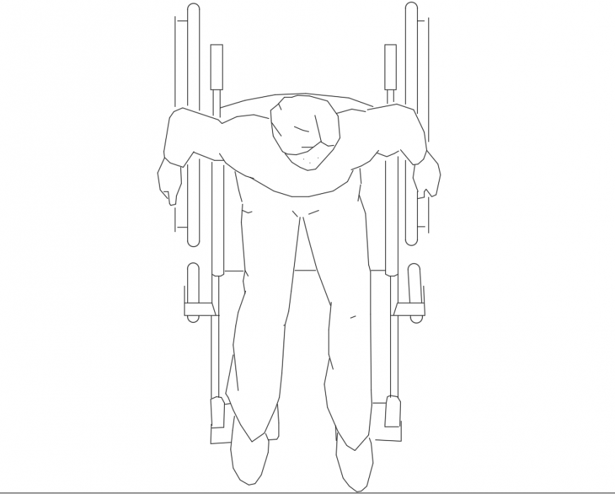 Disable man with wheel chair top view elevation cad block details dwg file