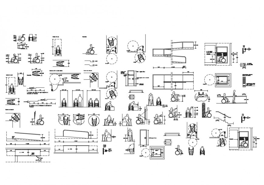 Disable people blocks with accessibility and sanitary equipment cad drawing details dwg file