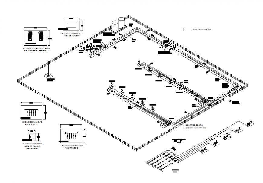 Discharge wells sleds macro perahumup apemex industrial plant details dwg file