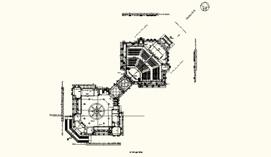 Disco club and restaurant detail plan elevation layout file