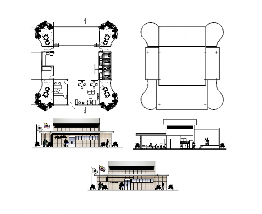 Disco club building detail elevation and plan 2d view layout file