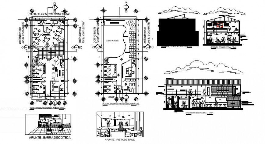 Discotheque plan and detail drawing in dwg file.
