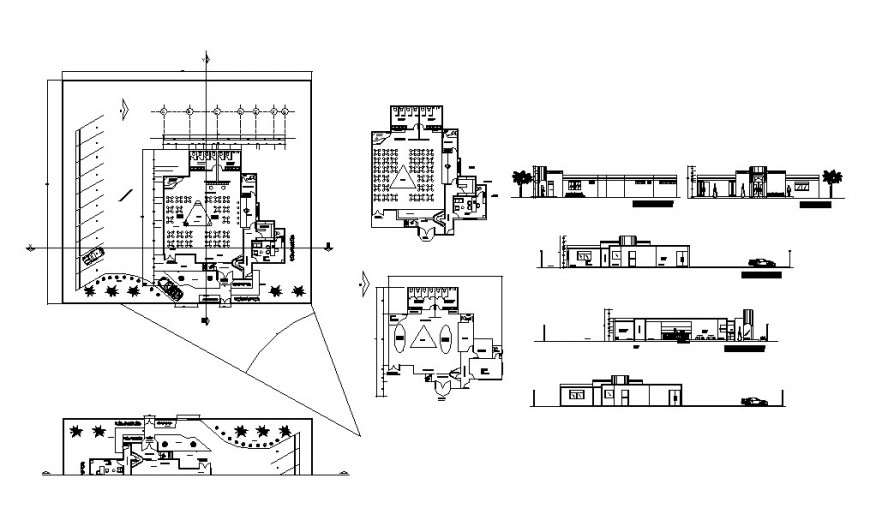 Discotheque restaurant elevation, section and plan cad drawing details dwg file