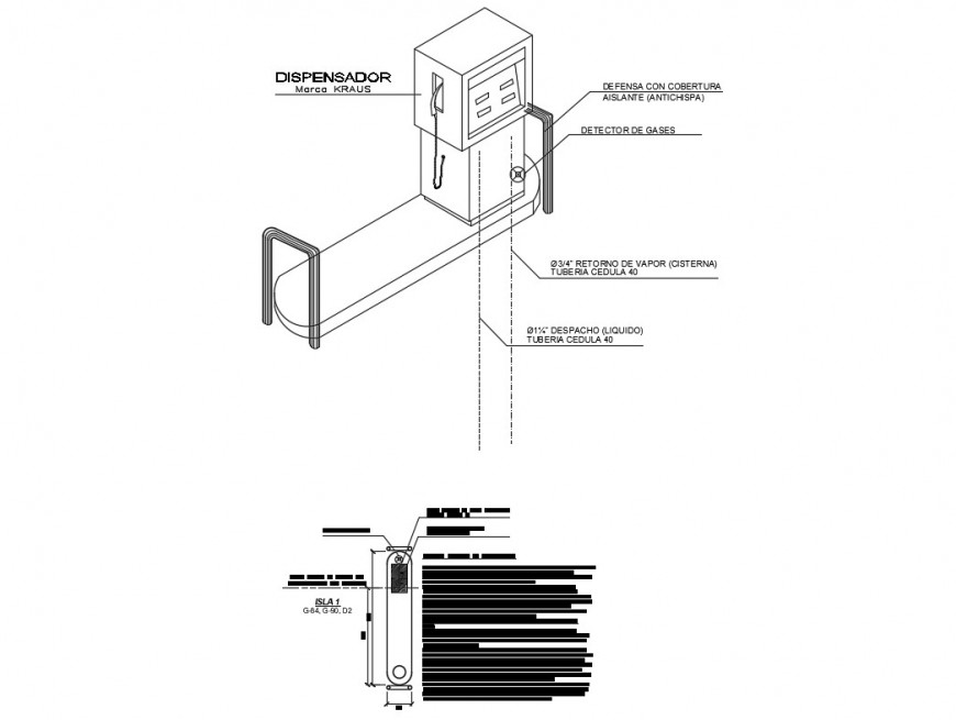 Dispenser machine isometric view and installation details dwg file