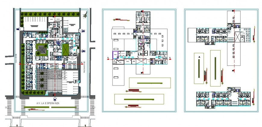 Distribution layout and floor plan drawing details of city hospital dwg file