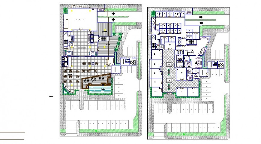 Distribution plan and landscaping structure details of apartment building dwg file