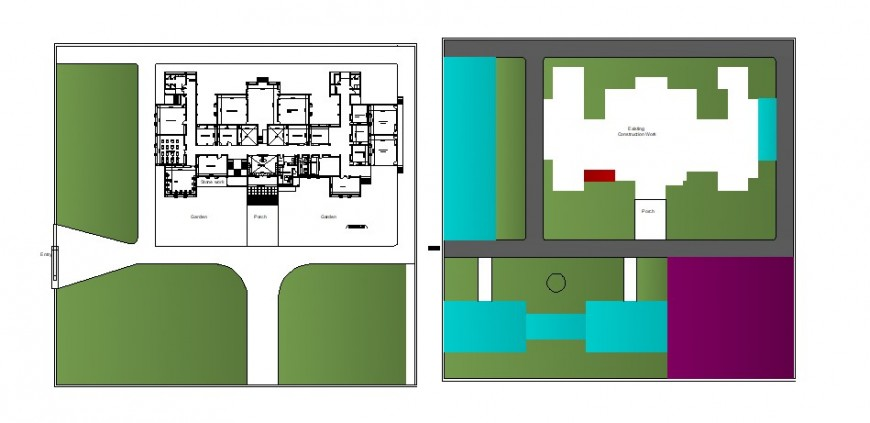 Distribution plan and landscaping structure details of corporate building dwg file