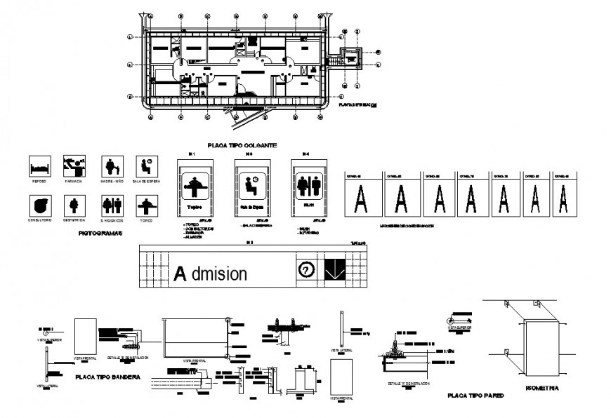 Distribution plan details of hospital with toilet details of handicapped dwg file