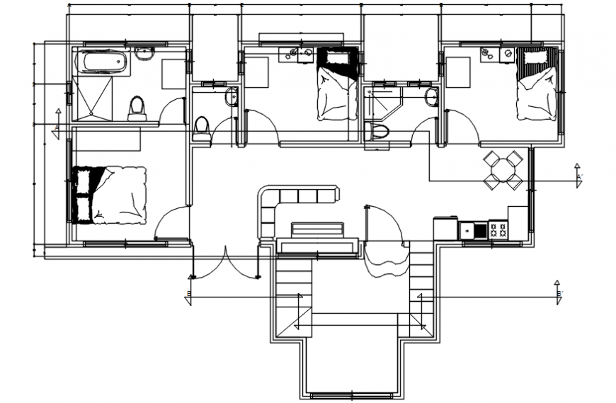 Distribution plan with furniture layout of cottage house cad drawing details dwg file