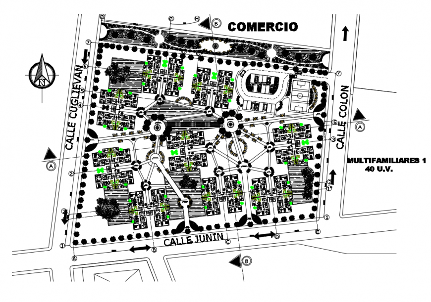Distribution plan with site plan details of apartment building dwg file