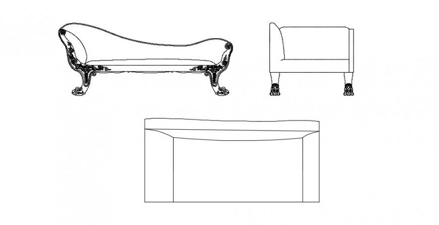 Diwan set single sofa chair 2d elevation model dwg file