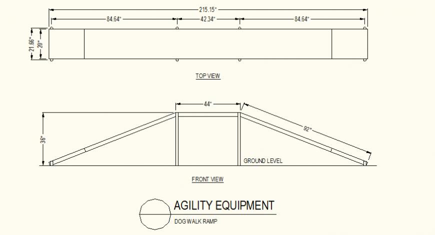 Dog walk ramp detail plan and elevation dwg file
