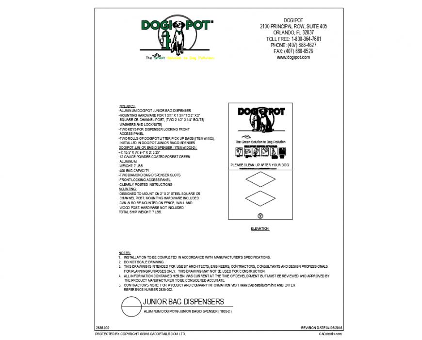 Dogipot junior bag dispenser cad drawing details dwg file
