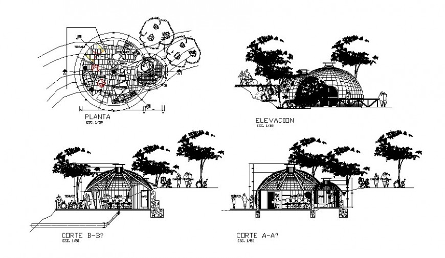Dome house detail drawing in AutoCAD file.
