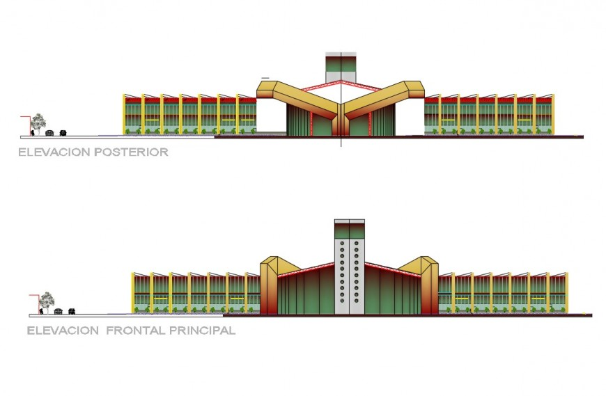Domestic airport facade and back elevation cad drawing details dwg file