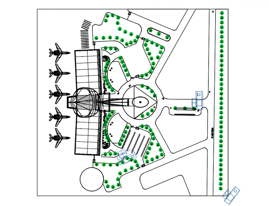 Domestic airport runway and landscaping structure details dwg file