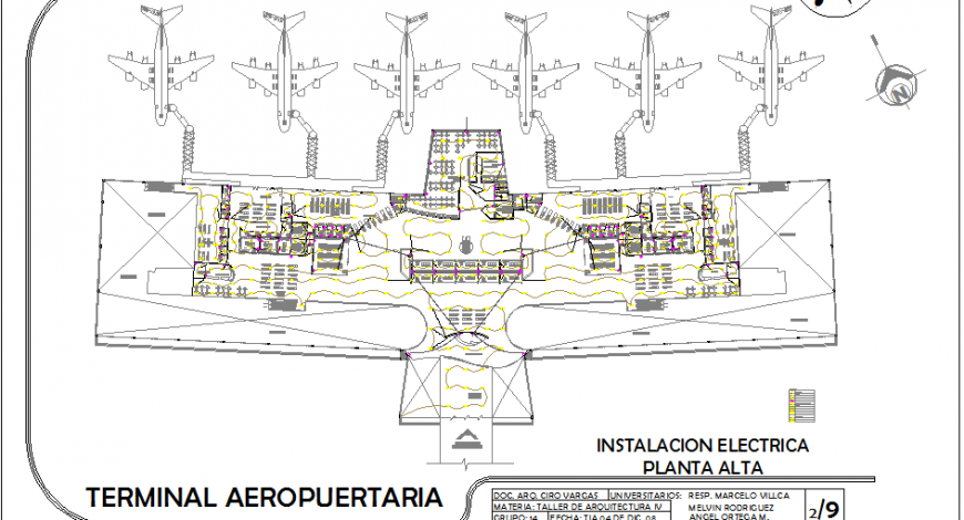 Domestic airport terminal architecture layout plan details dwg file