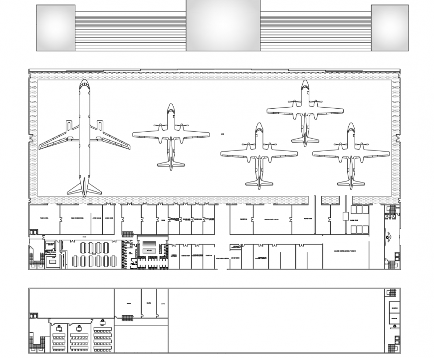 Domestic airport terminal distribution layout plan cad drawing details dwg file