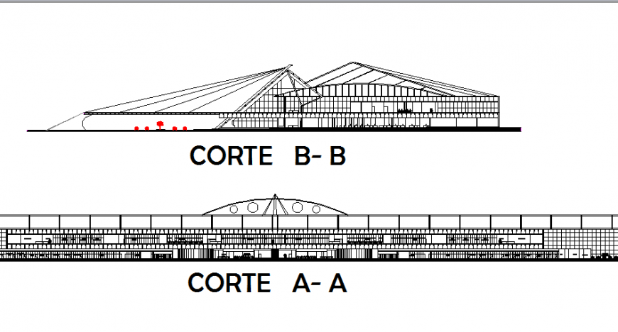 Domestic airport terminal facade and cut sectional details dwg file