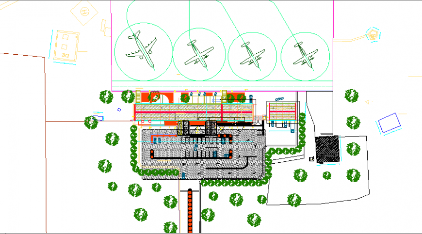 Domestic airport top view architecture layout plan details dwg file