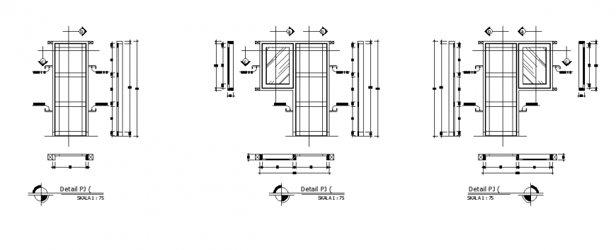 Door- Window detail plan design of small school house design drawing