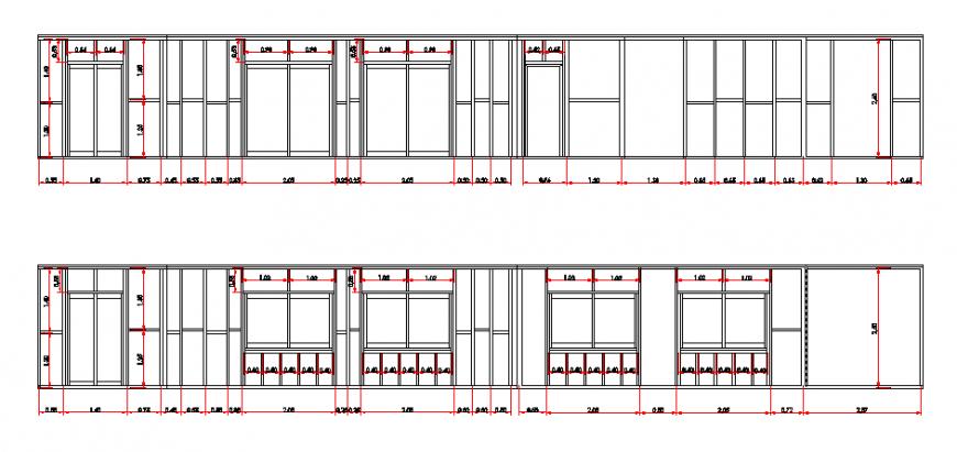 Door-window elevation design plan of wood housing design drawing