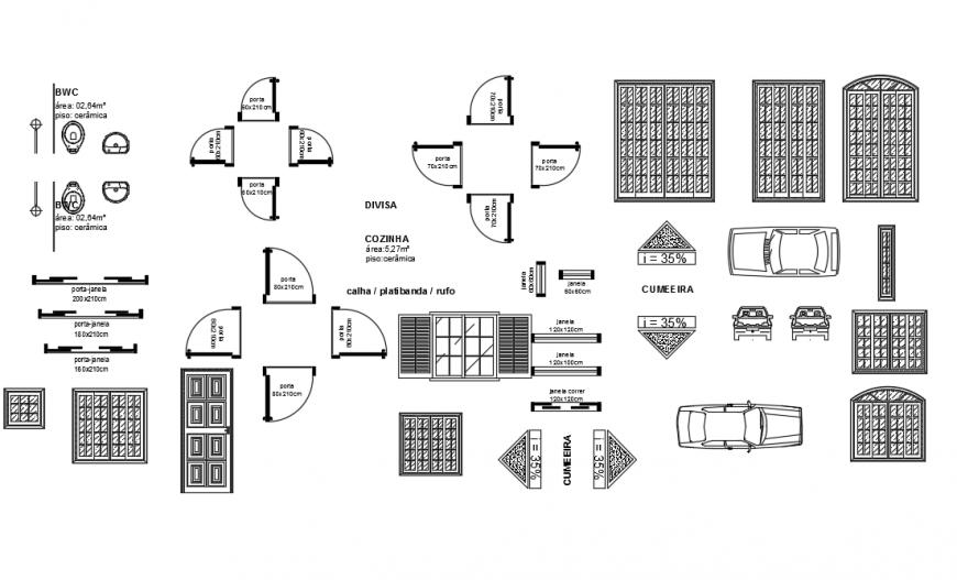 Door & Windows 2D Block Design DWG file