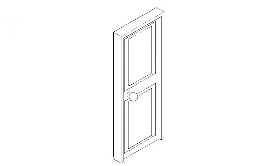 Door 3d model design front and side view dwg file