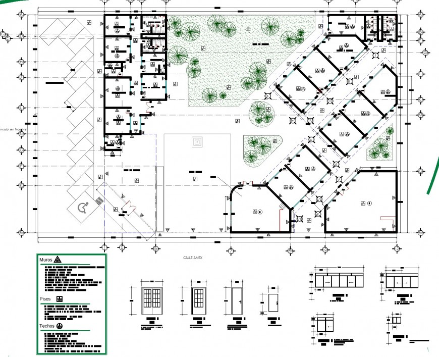 Door and garden planning autocad file