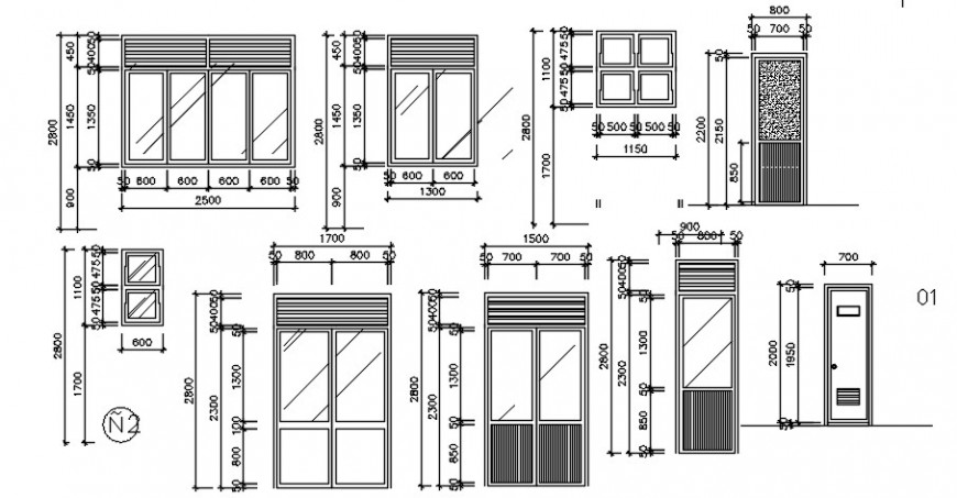 door and window blocks detail cad file