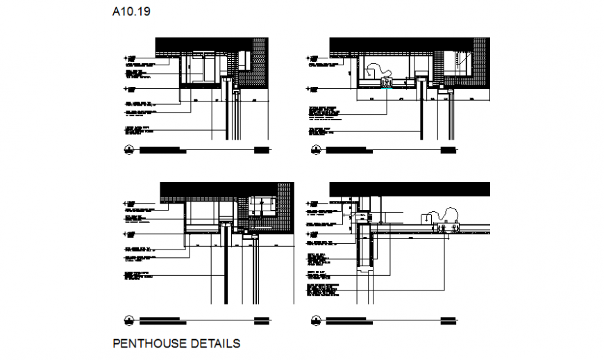 door and window construction drawing of Pent house in dwg file.