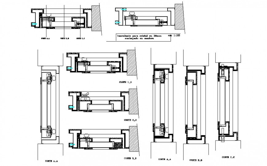 Door and window coupling and installation details dwg file