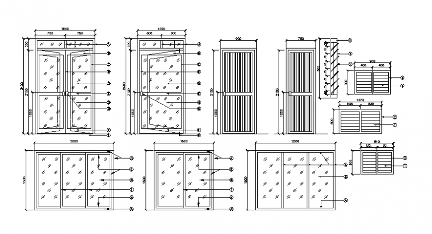 Door and window design blocks CAD drawings 2d view elevation autocad file