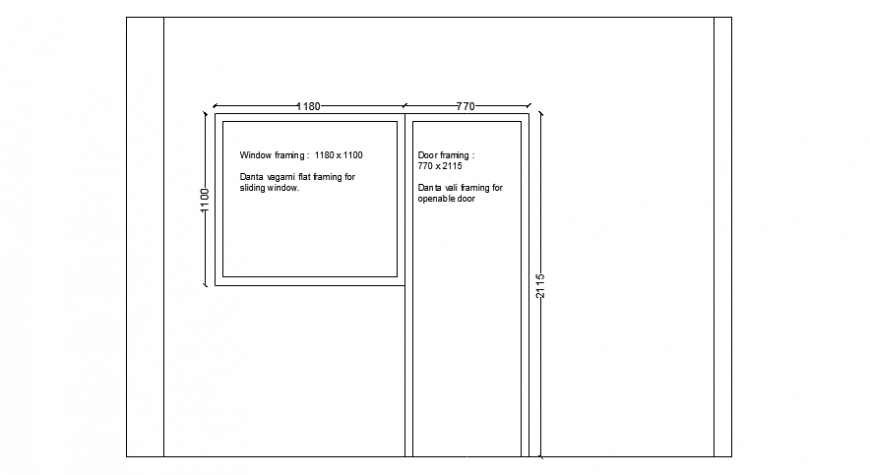Door and window framing details 2d view elevation dwg file
