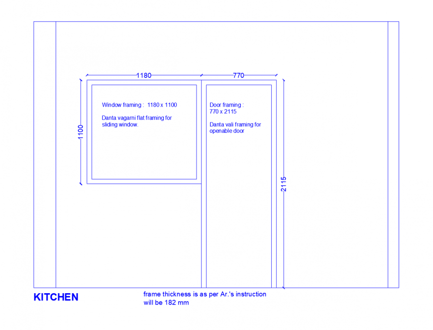 Door and window framing details of kitchen cad drawing details dwg file