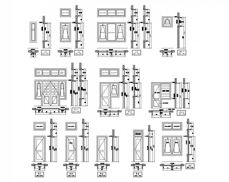 Door and window units blocks detail elevation 2d view autocad file