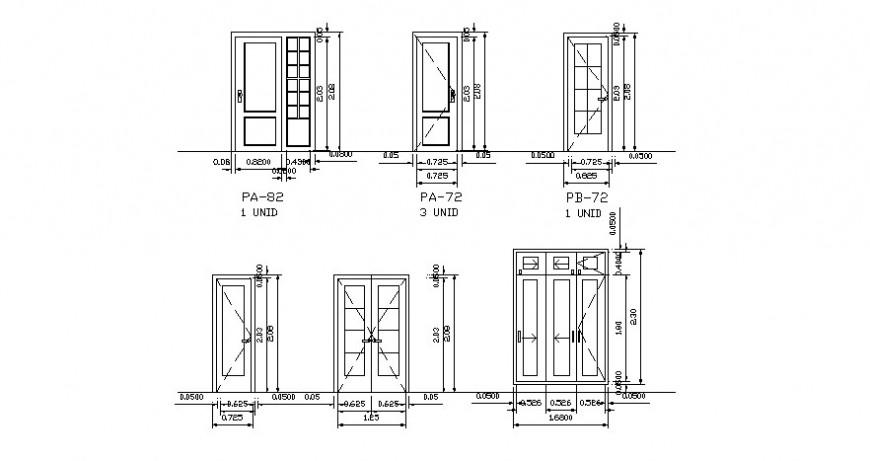 Door block different design in AutoCAD software