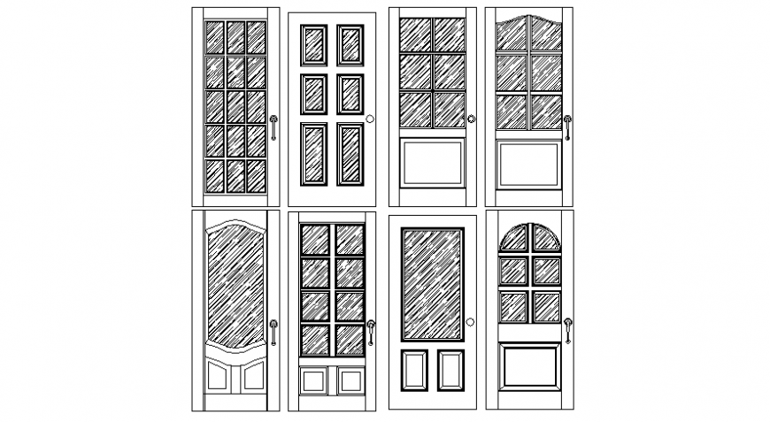 Door blocks drawings 2d view elevation design autocad file