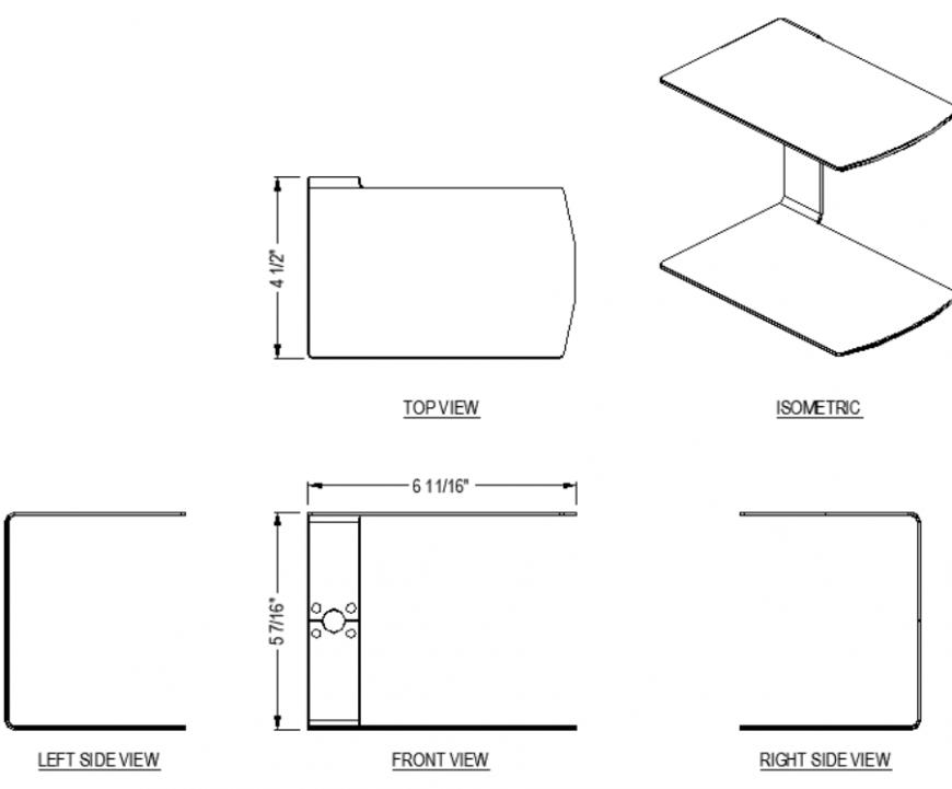 Door clamps plan detail dwg file.