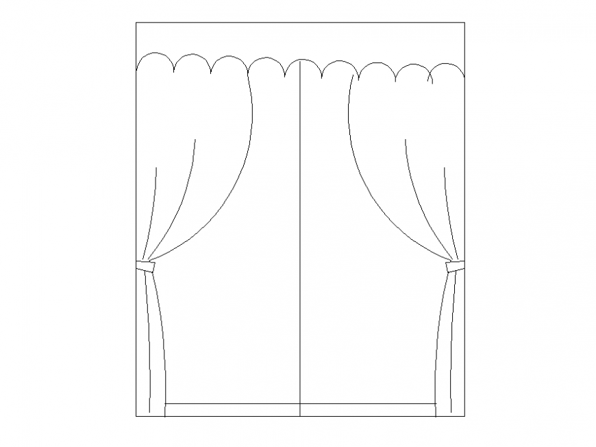 Door curtain detail elevation 2d view layout file