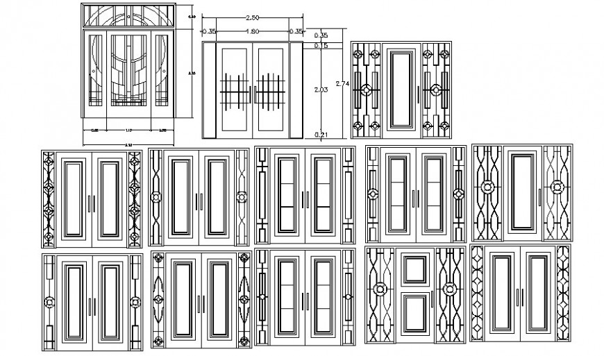 Door design 2d drawing shown in AutoCAD software