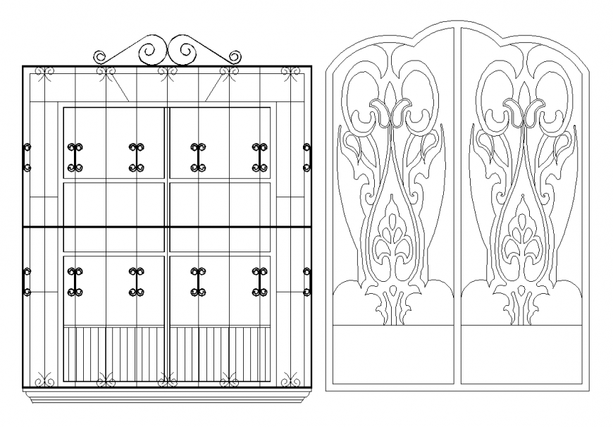 Door design with door block elevation dwg file