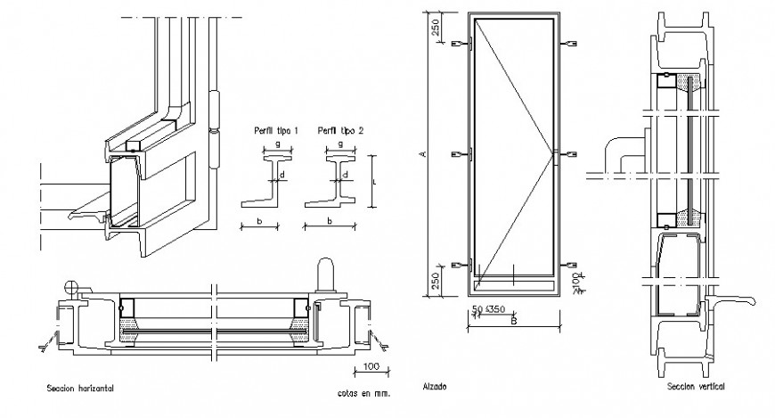 Door detail 2d view elevation and sectional block autocad file