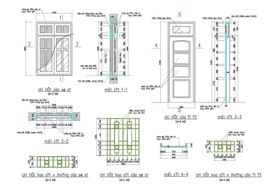 Door Detail in Section & Elevation design drawing.