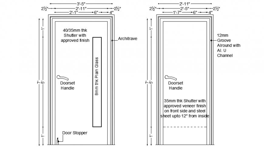 Door drawings detail 2d view CAD blocks AutoCAD file
